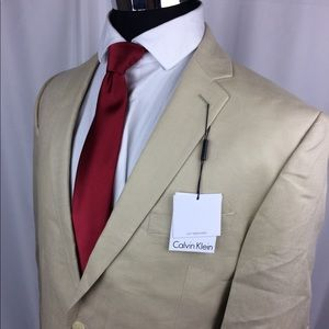 Calvin Klein Mens Cream Linen Blazer 2 Button Coat